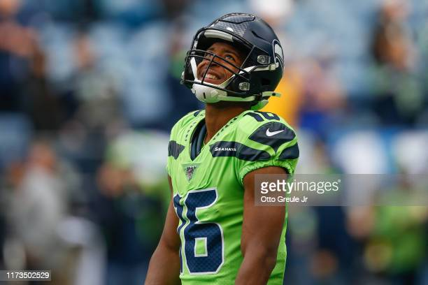 Wide receiver Tyler Lockett of the Seattle Seahawks looks on prior to the game against the Los Angeles Rams at CenturyLink Field on October 3 2019 in...
