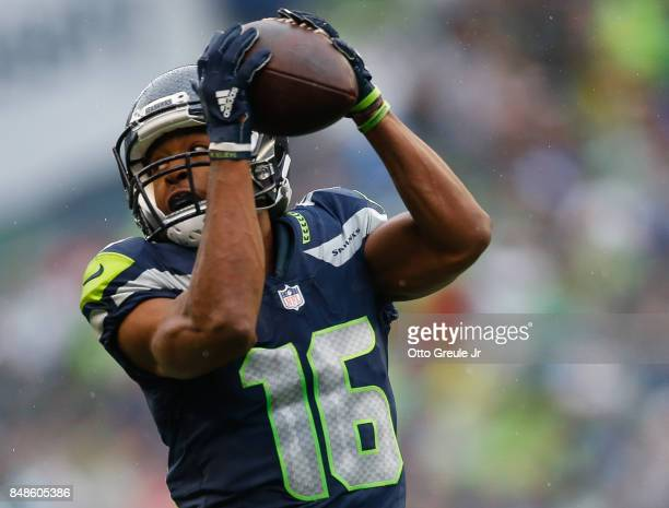 Wide receiver Tyler Lockett of the Seattle Seahawks makes a reception during the second quarter of the game against the San Francisco 49ers...