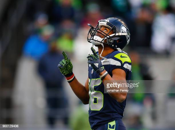 Wide receiver Tyler Lockett of the Seattle Seahawks reacts during the game against the Arizona Cardinals at CenturyLink Field on December 31 2017 in...