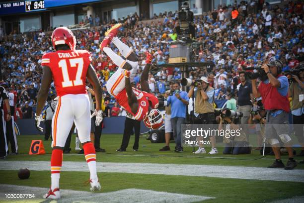 Wide receiver Tyreek Hill of the Kansas City Chiefs celebrates a touchdown with wide receiver Chris Conley after scoring to lead 3820 in the fourth...