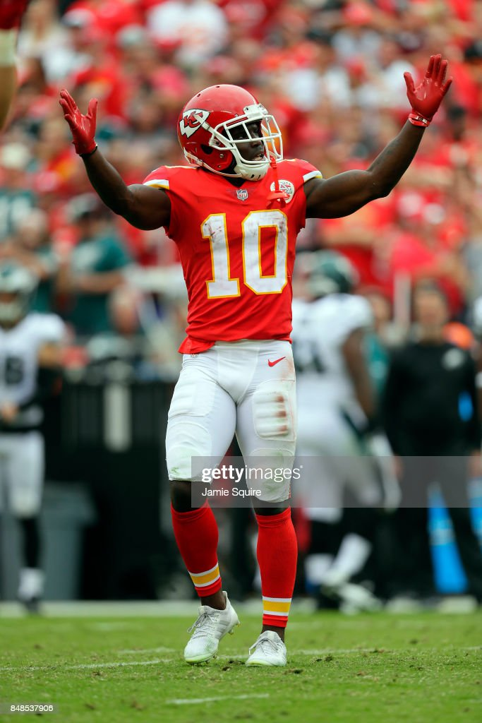 Wide receiver Tyreek Hill #10 of the Kansas City Chiefs celebrates after the Chiefs scored a touchdown during the game against the Philadelphia Eagles at Arrowhead Stadium on September 17, 2017 in Kansas City, Missouri.