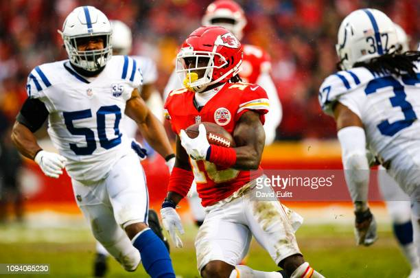 Wide receiver Tyreek Hill of the Kansas City Chiefs ran for 36 yards for a touchdown past middle linebacker Anthony Walker of the Indianapolis Colts...