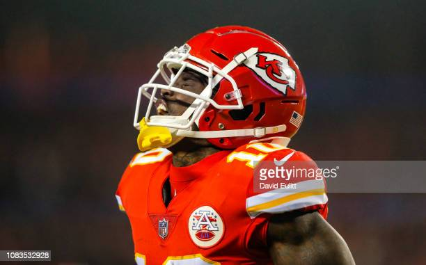 Wide receiver Tyreek Hill of the Kansas City Chiefs reacts after a pass catch against the Los Angeles Chargers at Arrowhead Stadium on December 13...