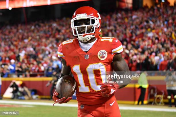 Wide receiver Tyreek Hill of the Kansas City Chiefs runs back to the sidelines after a touchdown reception against the Los Angeles Chargers at...