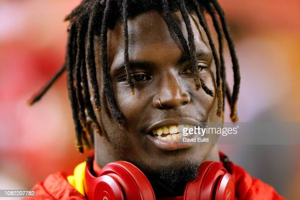 Wide receiver Tyreek Hill of the Kansas City Chiefs warms up prior to the game against the Los Angeles Chargers at Arrowhead Stadium on December 13...