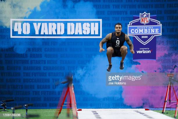 Wide receiver Tyrie Cleveland of Florida prepares to run the 40yard dash during NFL Scouting Combine at Lucas Oil Stadium on February 27 2020 in...