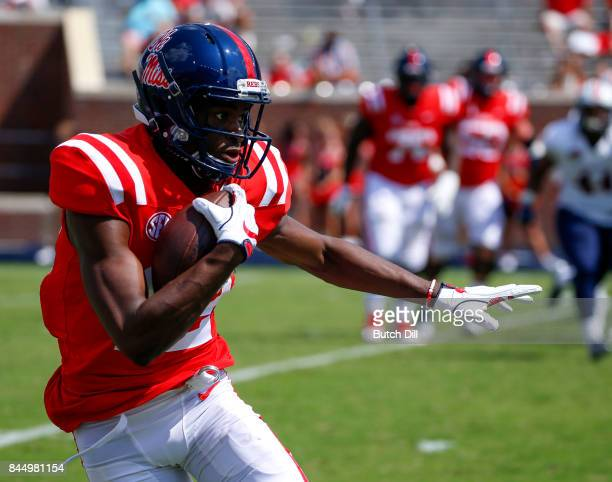 Wide receiver Van Jefferson of the Mississippi Rebels carries the ball during the second half of an NCAA football game against the Tennessee Martin...