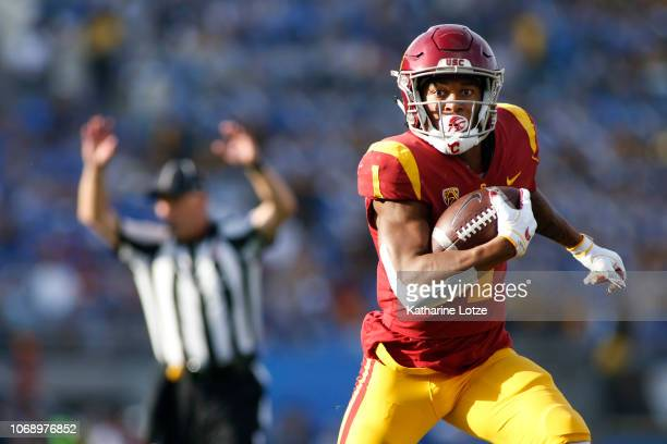 Wide receiver Velus Jones Jr #1 of the USC Trojans carries the ball down the field during the second half of a football game at Rose Bowl on November...