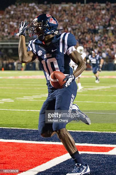Wide receiver Vince Sanders of the Ole Miss Rebels celebrates after scoring a touchdown during their game against the Texas AM Aggies on October 12...