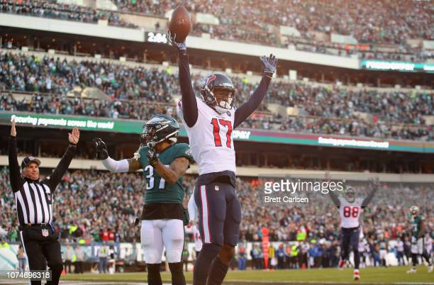 Wide receiver Vyncint Smith of the Houston Texans celebrates a touchdown reception against the Philadelphia Eagles during the fourth quarter at...