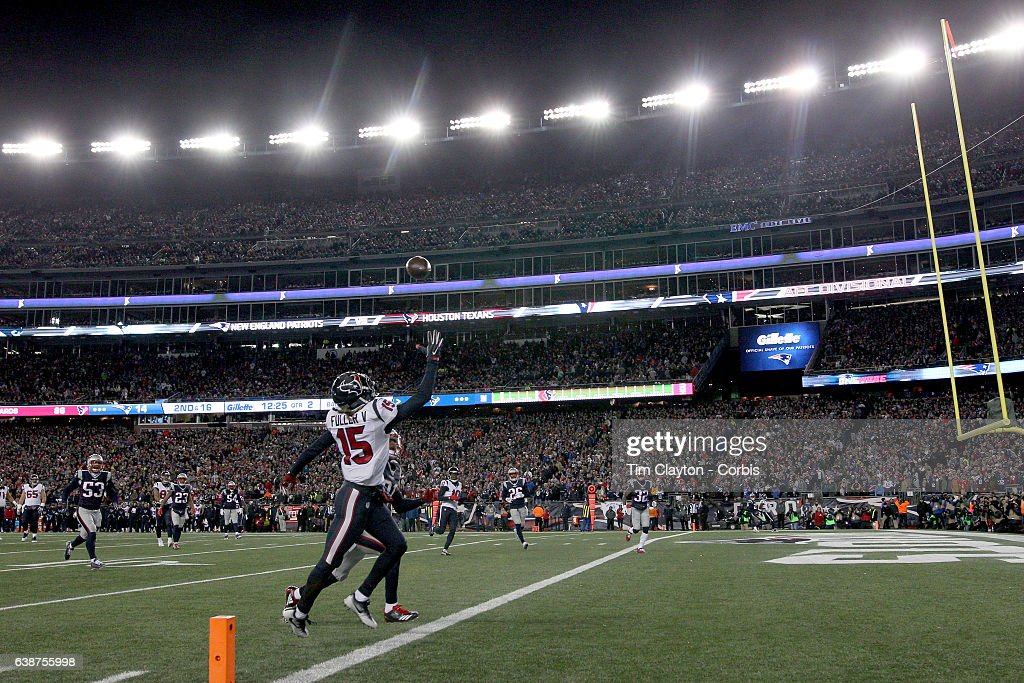 Wide receiver Will Fuller #15 of the Houston Texans fails to pull in a touchdown pass in the end zone during the Houston Texans Vs New England Patriots Divisional round game during the NFL play-offs on January 14th, 2017 at Gillette Stadium, Foxborough, Massachusetts.