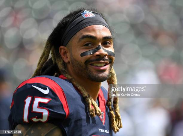 Wide receiver Will Fuller of the Houston Texans warms up before the game against the Los Angeles Chargers at Dignity Health Sports Park on September...