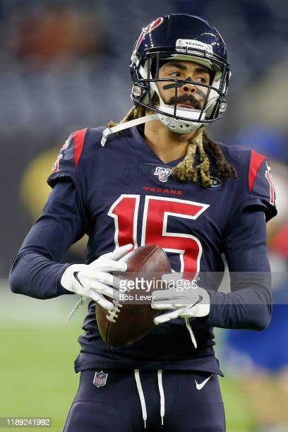 Wide receiver Will Fuller of the Houston Texans warms up before the game against the Indianapolis Colts at NRG Stadium on November 21, 2019 in...