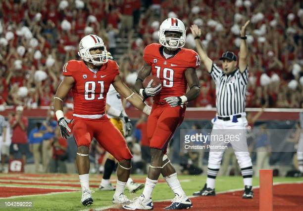 Wide receiver William Wright of the Arizona Wildcats celebrates after catching a 4 yard touchdown against the Iowa Hawkeyes during the fourth quarter...