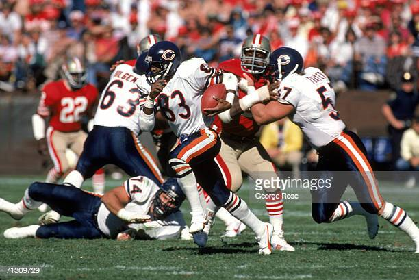 Wide receiver Willie Gault of the Chicago Bears hustles up field with the ball during a game against the San Francisco 49ers at Candlestick Park on...