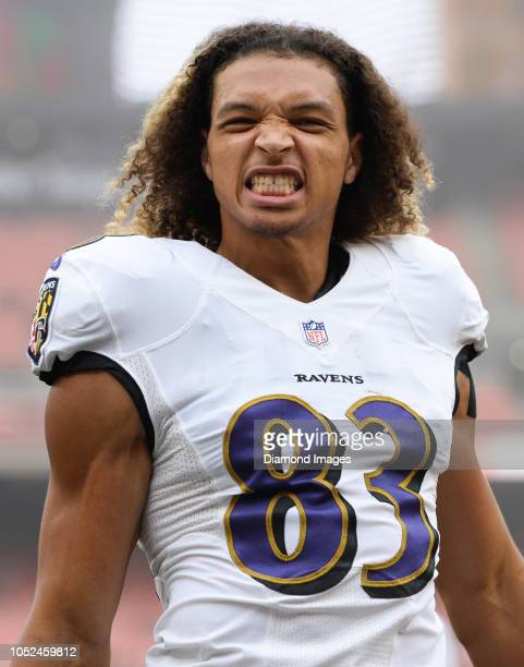 Wide receiver Willie Snead of the Baltimore Ravens grins toward the crowd prior to a game against the Cleveland Browns on October 7 2018 at...