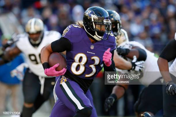 Wide receiver Willie Snead of the Baltimore Ravens runs with the ball in the first quarter against the New Orleans Saints at MT Bank Stadium on...