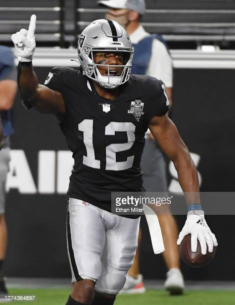 Wide receiver Zay Jones of the Las Vegas Raiders celebrates after catching a touchdown pass against the New Orleans Saints during the first half of...