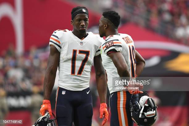Wide receivers Anthony Miller and Taylor Gabriel of the Chicago Bears talk during the NFL game against the Arizona Cardinals at State Farm Stadium on...