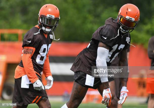 Wide receivers Jarvis Landry and Josh Gordon of the Cleveland Browns take part in a drill during a mandatory mini camp on June 12 2018 at the...
