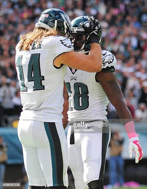 Wide receivers Riley Cooper and Jeremy Maclin react after Maclin scored a touchdown in the third quarter against the St Louis Rams on October 5 2014...