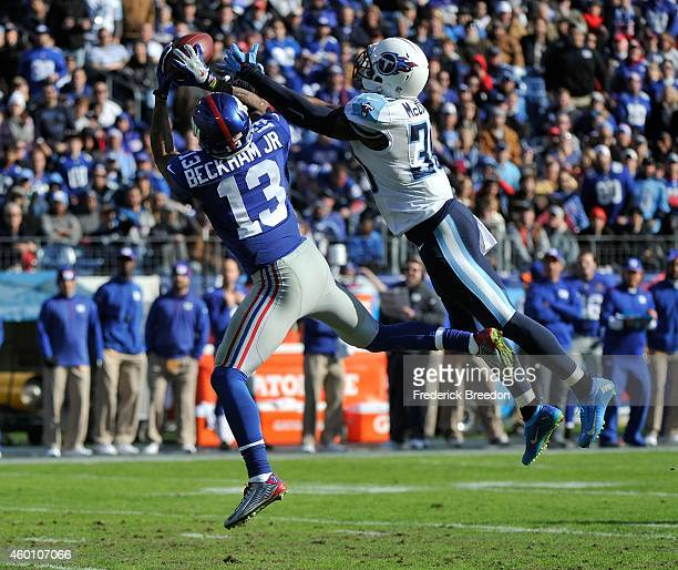 Wide reciever Odell Beckham Jr #13 of the New York Giants catches a pass against the Tennessee Titans during the first quarter in a game at LP Field...
