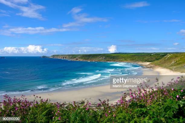 Wide sandy beach with waves, Sennen Cove, Sennen, Cornwall, England, Great Britain