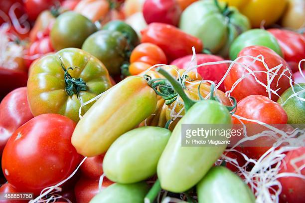 A wide selection of tomato varieties on sale in London's Borough Market September 6 2012