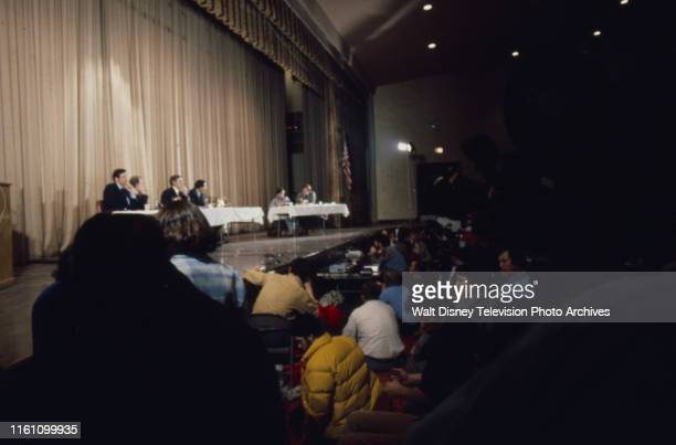 Wide shot Indiana Senator Birch Bayh Governor Jimmy Carter US Representative Mo Udall Fred R Harris at campaign event ABC News coverage of the 1976...