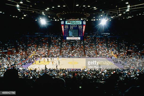 A wide shot of a game between the Boston Celtics and the Los Angeles Lakers circa 1996 at the Great Western Forum in Los Angeles California NOTE TO...