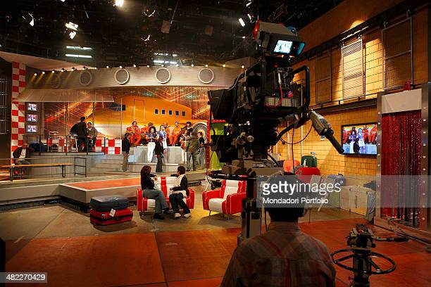 Wide shot of a television studio of Cologno Monzese in a pause during the shots of the variety broadcast Mai Dire Martedì faced backwards the...
