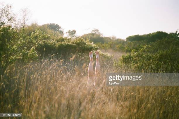wide shot of a woman's feet sticking up into the sky in tall grass - カーキグリーン ストックフォトと画像