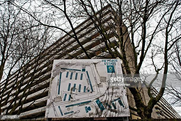 Wide shot of an entrance to the derelict Heygate Estate in Elephant & Castle, South London, 2010