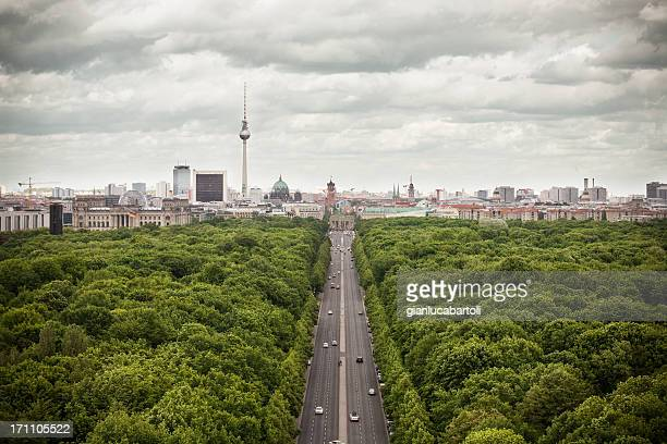 Wide shot of Berlin's skyline from high above the tree line