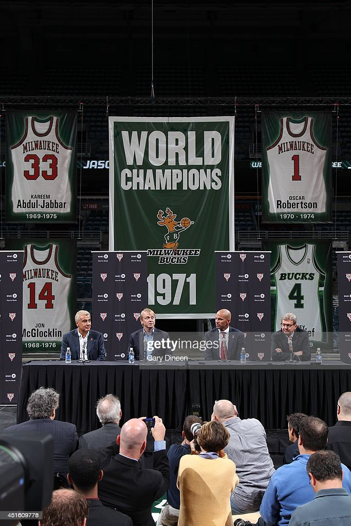 A wide shot of co-owners Marc Lasry and Wesley Edens, and general manager John Hammond of the Milwaukee Bucks introducing Jason Kidd as the new head coach during a press conference at the BMO Harris Bradley Center on July 2, 2014 in Milwaukee, Wisconsin.
