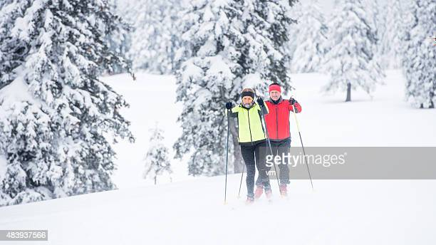 Wide Shot of Couple Back Country Nordic Skiing