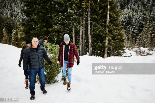 wide shot of family carrying freshly cut christmas tree though snow covered field on winter afternoon - embellished jacket stock pictures, royalty-free photos & images