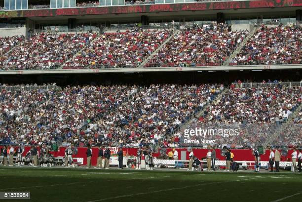 Wide shot of fans during the game between the New England Patriots and the Miami Dolphins at Gillette Stadium on October 10, 2004 in Foxborough,...
