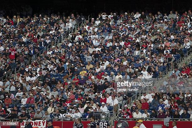 A wide shot of fans during the game between the New England Patriots and the Miami Dolphins at Gillette Stadium on October 10 2004 in Foxborough...