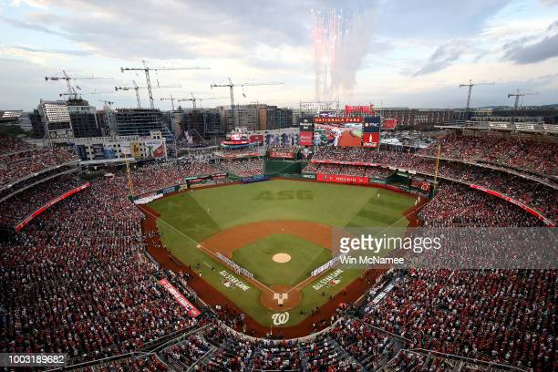 A wide shot of fireworks during the 89th MLB AllStar Game presented by Mastercard at Nationals Park on July 17 2018 in Washington DC
