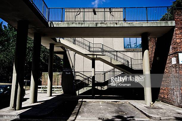 Wide shot of highwalks and stairs on the abandoned Heygate Estate in Elephant & Castle, South London 2009