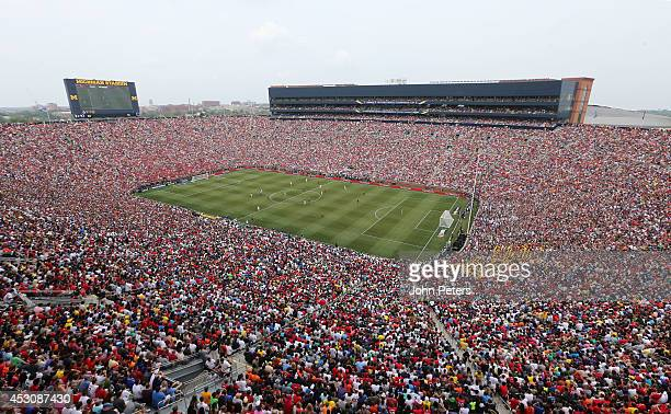 Wide shot of Michigan Stadium during the pre-season friendly match between Manchester United and Real Madrid at Michigan Stadium on August 2, 2014 in...