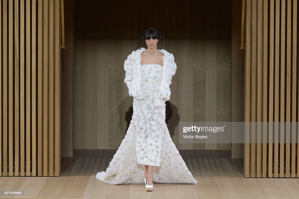 A wide shot of model walking the runway during the Chanel Haute Couture Spring Summer 2016 show as part of Paris Fashion Week on January 26, 2016 in Paris, France.