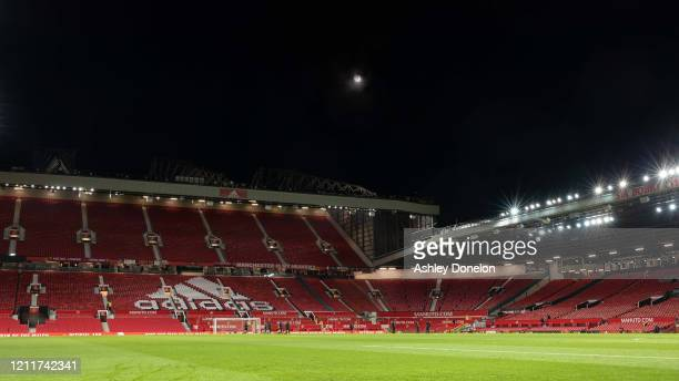 A wide shot of Old Trafford after the Premier League match between Manchester United and Manchester City at Old Trafford on March 08 2020 in...