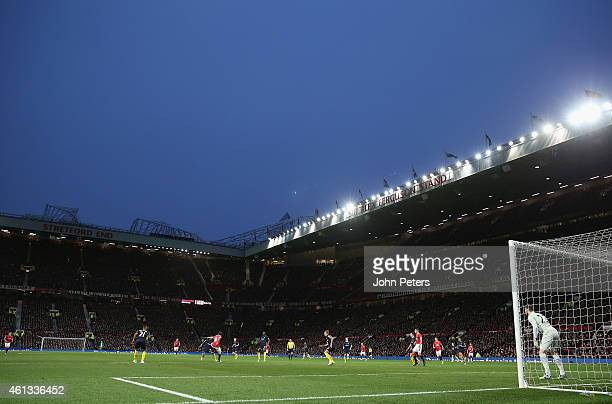A wide shot of Old Trafford during the Barclays Premier League match between Manchester United and Southampton at Old Trafford on January 11 2015 in...