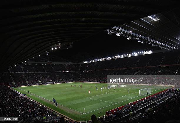 A wide shot of Old Trafford during the FA Barclays Premier League match between Manchester United and Wigan Athletic at Old Trafford on December 30...