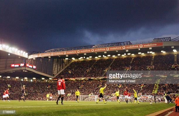 A wide shot of Old Trafford during the FA Premiership match between Manchester United and Aston Villa at Old Trafford on December 6 2003 in...