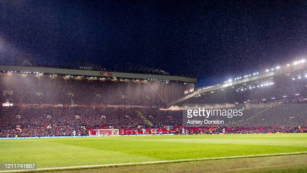 A wide shot of Old Trafford during the Premier League match between Manchester United and Manchester City at Old Trafford on March 08 2020 in...