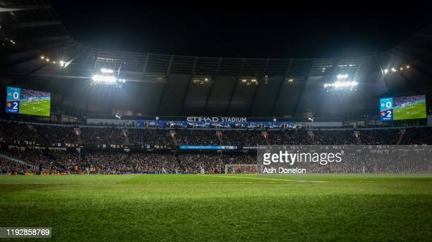 Wide shot of the Etihad during the Premier League match between Manchester City and Manchester United at Etihad Stadium on December 07, 2019 in...