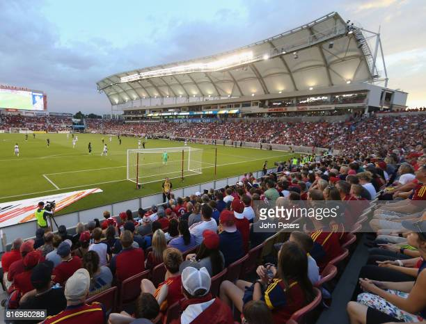 A wide shot of the match during the preseason friendly match between Real Salt Lake and Manchester United at Rio Tinto Stadium on July 17 2017 in...